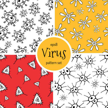 Hand Drawn Cartoon Virus Pattern for Medical Design. Cute Monster Characters of Germ Infection or Bacteria. Vector Microbe Pathogen Seamless Background. Scetched Funny Viruses for Booklet Cover