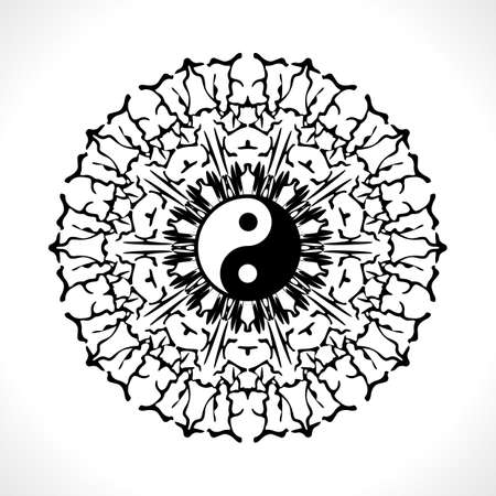 Vector Flower Mandala with Yin Yang Symbol for Coloring Book and Indian Design. Black and White Moroccan, Spain, Turkish, Pakistan, Ottoman Pattern Isolated
