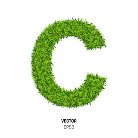 The Letter C Made of Green Grass Texture. 3d Vector Illustration on White Background