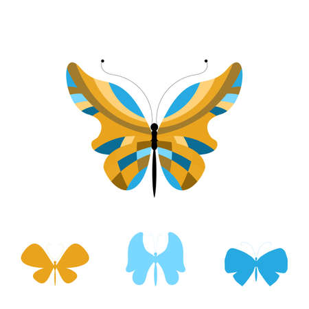Summer Collection of Colorful Butterfly Icons. Set of Beautiful Insects Isolated on White Background. Vector Illustration