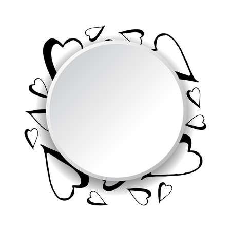 Cornice disegnata a mano di cuori su sfondo bianco
