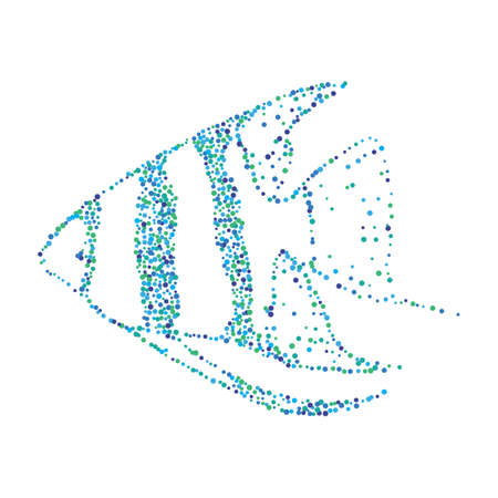 Dotted Halftone Aquarium Fish. Vector Pterophyllum Scalare or Angelfish Pterophyllum Drawing Illustration