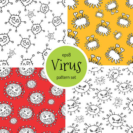 biohazard: Hand Drawn Cartoon Virus Pattern for Medical Design. Cute Monster Characters of Germ Infection or Bacteria. Vector Microbe Pathogen Seamless Background. Scetched Funny Viruses for Booklet Cover