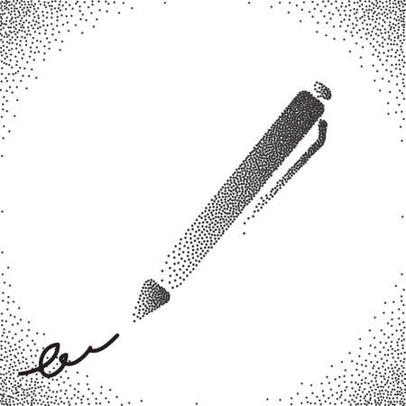 writing instruments: Halftone Vectior Pen. Black and White Stipple Illustration for Web, Business, Advertising, Design
