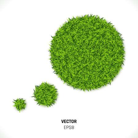 Groen gras tekstballon op witte achtergrond. Eco Home Concept. 3D-vectorillustratie