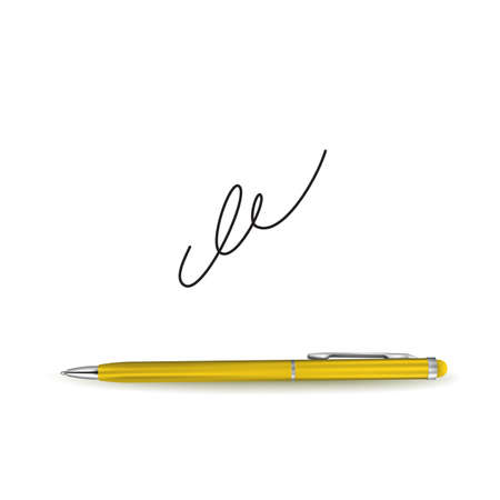 Realistic Golden Ball Pen and Signature Example Isolated on White Background. Contract and Agreement Vector Symbol. Pact, Accord or Convention Illustration