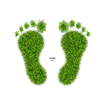 Foot Print Made of Green Grass. Footprint or Barefoot Eco Wildlife Symbol on White Background. 3d Vector Illustration  イラスト・ベクター素材