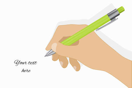 Simplistic hand with pen writing on paper. Drawing illustration isolated on white