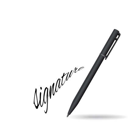 Realistic Ball Pen and Signature Example Isolated on White Background. Contract and Agreement Vector Symbol. Pact, Accord or Convention Illustration