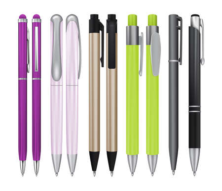 Set of Realistic Ball Pens Isolated on White Background. Vector 3d Ballpoint or Biro Collection for Mockup