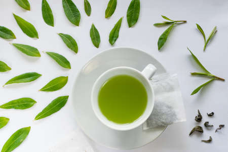 Healthy Light Green Tea Cup with Fresh Green Leaves Flat Lay Stock Photo