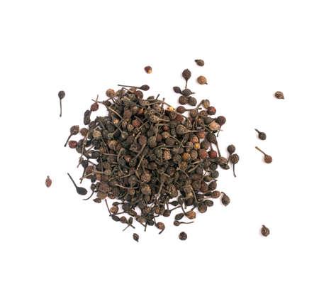 Voatsiperifery pipper or piper bourbonense. Madagascar pepper Isolated on White Background