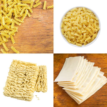 carbohydrate: Pasta Collage Top View. Fusilli Pasta, Lasagna sheets, Instant Noodles and Wooden Background