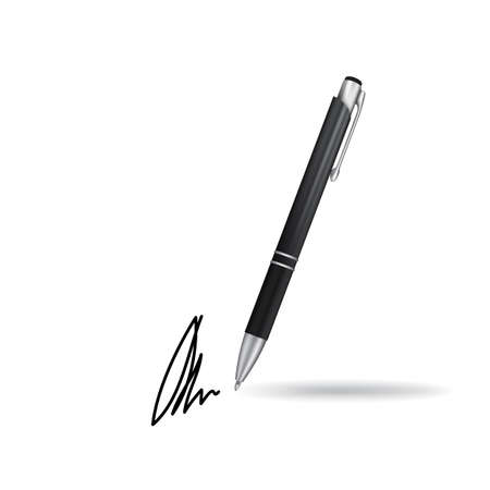 Realistic Ball Pen and Signature Example Isolated