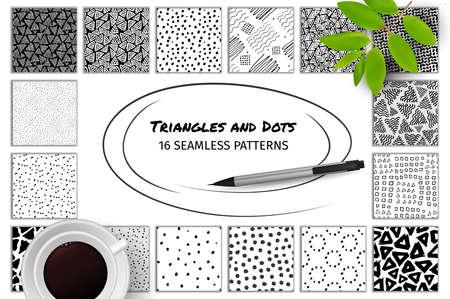 Grande collezione di modelli astratti senza mano disegnati a mano con anelli di inchiostro quadrati Vettoriali