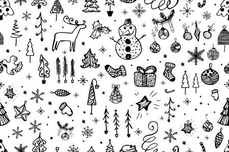 Christmas doodle pattern with hand drawn deer, Christmas tree, gingerbread, Christmas toys, snowman, santa, gifts and socks. Vector illustration Çizim