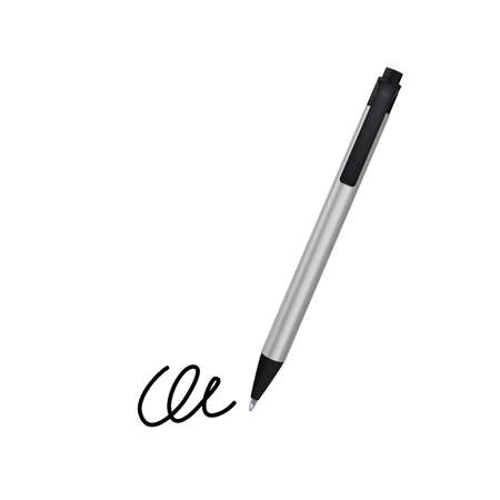 accord: Realistic Ball Pen and Signature Example Isolated on White Background. Contract and Agreement Vector Symbol. Pact, Accord or Convention Illustration Illustration