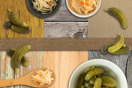 Collage of Homemade Sauerkraut and Pickled Cucumbers on Different Wooden Backgrounds Reklamní fotografie