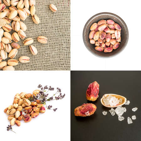 Set of Heap of Inshell Pistachios and Peeled Pistachios on Various Backgrounds