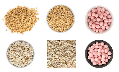 Set of Puffed Wheat Snacks in White Round Bowl Isolated. Healthy Cereal Vegetarian or Vegan Food Stock Photo