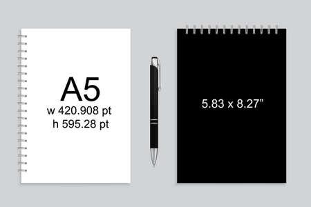 Spiral binding notebook or notepad and pen Vektorové ilustrace