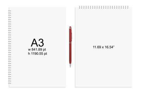 spiral binding: Spiral binding notebook or notepad and pen isolated. Sketchbook or diary ISO 216 A4 standart. Realistic vector illustration Illustration