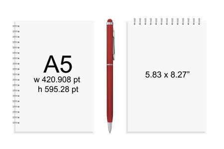 Taccuino o blocchetto per appunti e penna isolati vincolanti a spirale. Sketchbook o diario ISO 216 A4 standard. Illustrazione vettoriale realistico