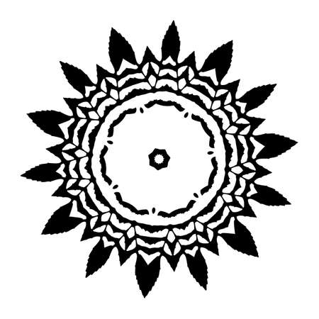 Vector Flower Mandala For Coloring Book And Indian Ddesign Black