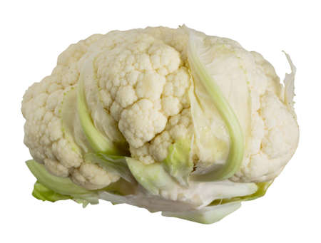 Fresh cauliflower isolated on white background closeup with clipping path