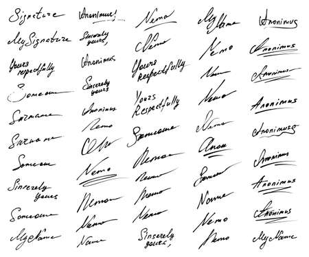 Signature vector icon collection. Fictitious signatures isolated on white background.
