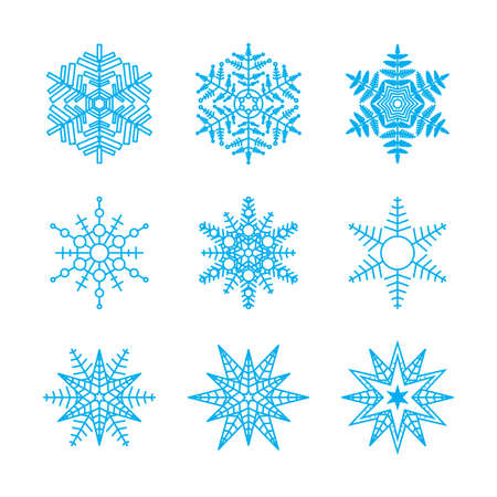 Beautiful snowflake icons. Simple snow icon. Winter symbols for web design. Vector illustration.