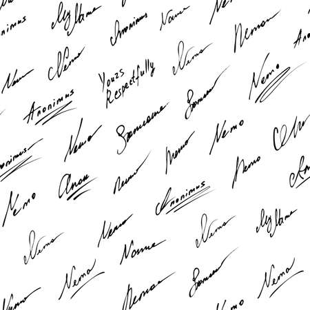 Signature vector icon seamless background. Fictitious signatures pattern on white background.