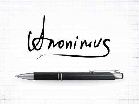 Signature Anonimus Vector Icon. Fictitious signature and realistic ball pen on a traced paper background Ilustração Vetorial