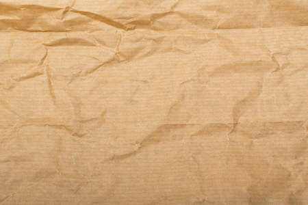 Wrinkled Kraft Paper Texture. Natural Brown Vintage Paper Background