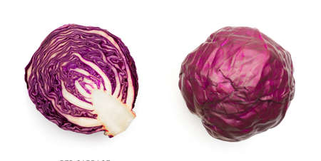 Cut of Red Cabbage Isolated Top View. Fresh Healthy Vegetable with Clipping Path
