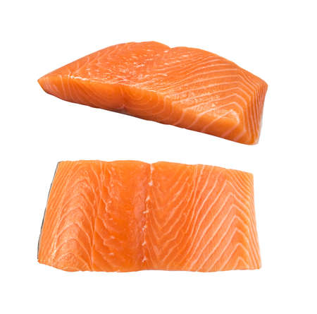 Raw Salmon Fillet Isolated Top View. Thick Pieces of Fresh Red Fish or Trout with Clipping Path Stock Photo