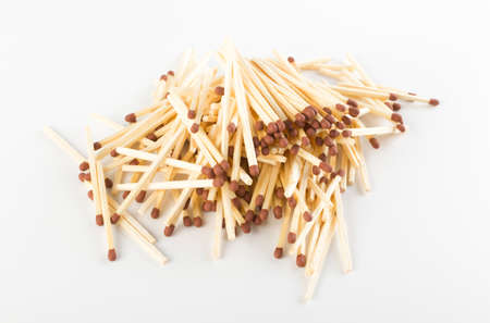 Heap of Match Sticks or Safety Matches on White Paper. Macro Photography of Matchsticks Top View
