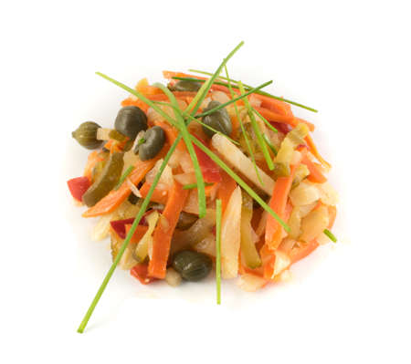 Salad Made of Chopped Pickled Vegetables Mixed with Oil and Vinegar. Healthy Fermented Food Isolated 写真素材 - 100898630