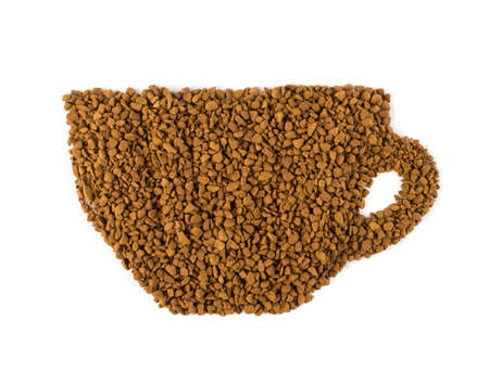 Instant Coffee Granules or Powder in Shape of Coffee Cup Isolated on White. Delicious Granulated Drink Top View