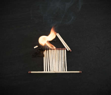 Burning Matches House for Fire Insurance Illustration. Flammable Home