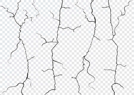 Vector Wall Cracks Isolated. Fracture Surface Effect or Broken Collapse Illustration