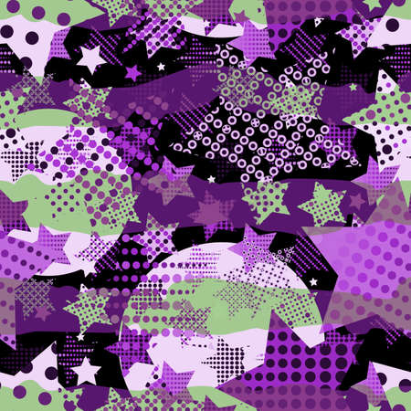 Beautiful Ultra Violet Endless Star Background. Trendy 2018 Ultraviolet Color Creative Seamless Pattern in Pop Art Style for Fabric  イラスト・ベクター素材