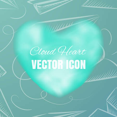 Cloud Heart Realistic 3d Vector Icon on Blue Background. Beautiful Romantic Symbol with Smoke Texture Illustration