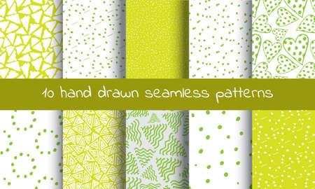 Hand Drawn Seamless Pattern with Triangles In Retro Style. Trigon Squiggle Texture Organic Geometric Design Ilustração