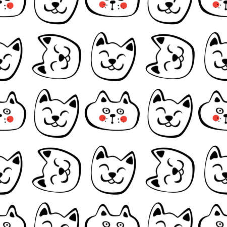 Seamless Pattern with Hand Drawn Cats. Funny Cat Emoticons Background.