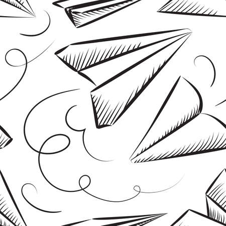 Sketched Paper Plane Seamless Pattern.