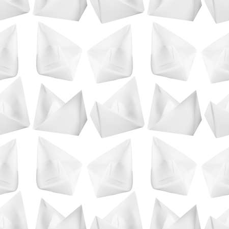 Paper Boats or Paper Ships Origami Seamless Pattern on White Background Stock Illustratie