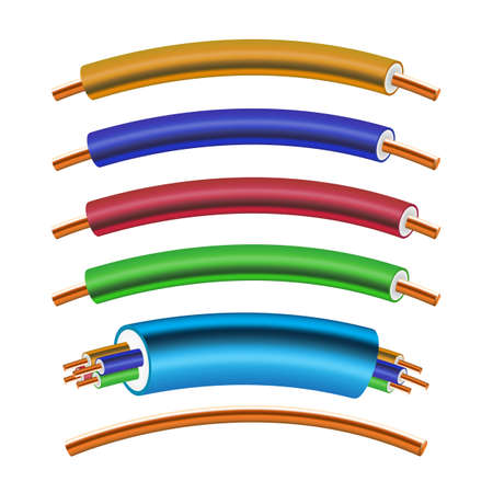 Set of Electric Power Cable Isolated on White. Electrical Copper Wires and Cords or Cables Collection.
