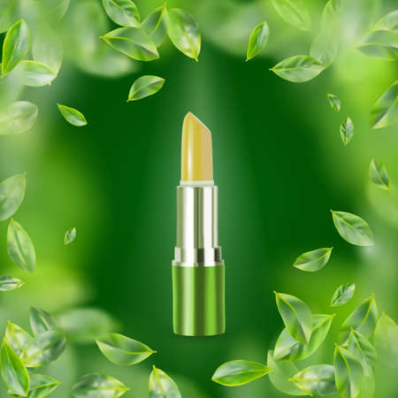 Realistic Lip Balm on Green Background. 3d Illustration of Natural Eco Cosmetics