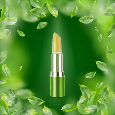 Realistischer Lippenbalsam auf grünem Hintergrund. 3d Illustration der natürlichen Öko-Kosmetik
